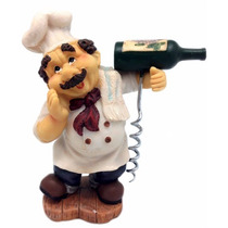 Enfeite Cozinheiro De Resina Com Saca Rolhas - 16 Cm Altura