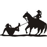 Adesivo Cowgirl Laçando O Cowboy Modelo 2 Frete Gratis