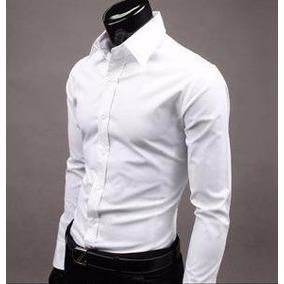 Camisas Vestir Caballero Hombre Slim Fit Blancas Negra Ropa 88224a924f4