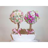 Arranjo Floral - Flores Artificiais De Seda - Topiaria Dupla