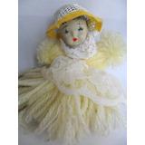 Boneca Antiga De Lã Com Cabeça De Porcelana