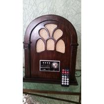 Rádio Retrô Capelinha De Madeira (mdf) Usb, Sd Controle
