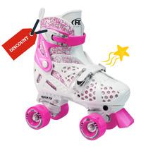 Patines Clásicos Roller Derby Skate Niña Rosa / Blanco