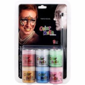 Tinta Facial Líquida Metálica 6 Cores + Pincel - Color Make