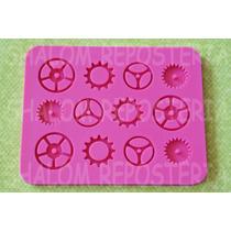 *molde De Silicon Engranes Tuercas Pastel Cupcake Fondant*