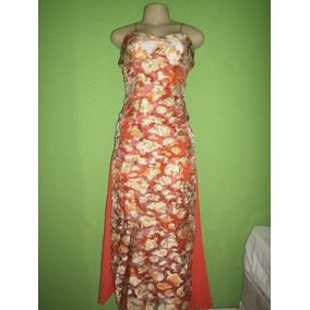 Vestido Formatura Festa Crepe De Seda Estampado Tamanho M