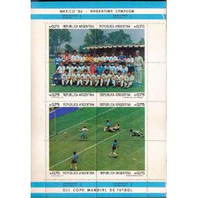 Argentina 1986 Bloco Campeão Copa Futebol 8 Selos Mint