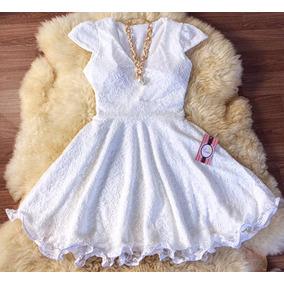 Vestido Branco Renda Com Efeito De Babados Na Barra Noiva