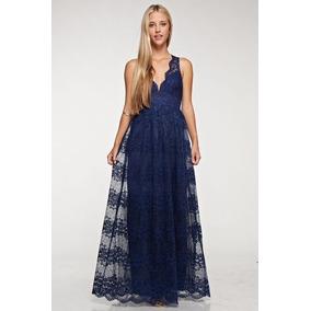 Vestido Largo De Encaje Azul Marino