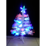 Arbol Mini Blanco Con Fibra Optica Luz Led 60 Cm