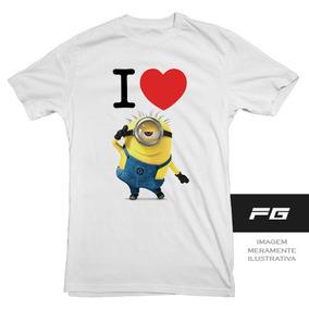 Camiseta Adulto Infantil Eu Amo Minions I Love Minion