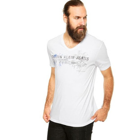 Camiseta Calvin Klein Gola V Branca Original!!!