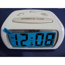 Relógio Despertador Pequeno Digital Branco Luz Led 2916 Azul
