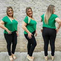 Calça Jeans Feminina Plus Size Rasgada P/ Gordinhas 46 A 54