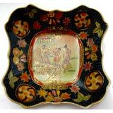 Prato Em Porcelana Chinesa Pintura Á Mão E Alto Relevo 17cm