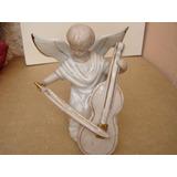 Lindo Anjo Antigo Tocando Violino Louça Belos Fios Dourados