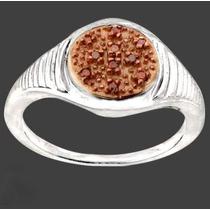 Masc E Fem- Diamante Vermelho E Ouro Rosé- Anel De Prata 925