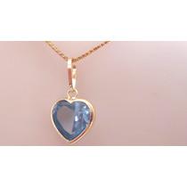 Kgshop Joia De Ouro 18k Cordão E Pingente Coração Pedra Azul