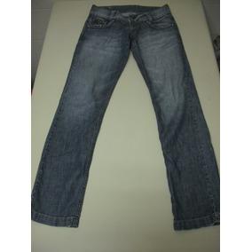 Calça Jeans Marca Lenis Com Detalhes Em Taxões Tam 38