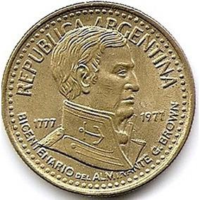 Bicentenario De Ate.g.brown Moneda De Bronce De $ 5 Año 1977