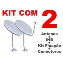 Kit 2 Antenas 60cm Banda Ku+30mts Cabo+lnb Simples+fixação