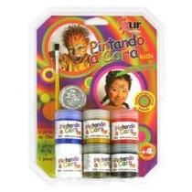 Tinta Facial Make Criança Color Kids 6 Cores Glitter Pincel