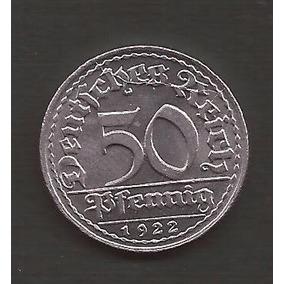 Alemania 50 Pfennig 1922 Republica Weimar Moneda Sin Circula