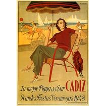 Cadiz Espanha Mulher Lago Barco Cavalo Animal Poster Repro