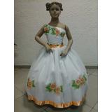 Vestido De Dama Ou Florista Com Rosas Laranjas F102