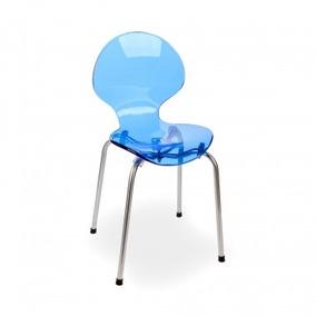 Cadeira De Acrílico Cindy Infantil Base Tubular Inox