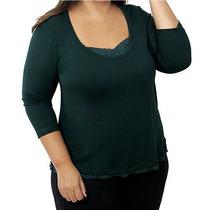 Blusa Verde Musgo Visco Com Renda Exg G4 Plus Size 54 56 58