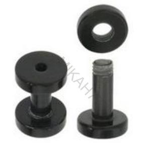 Par Alargador 3mm Piercing Preto Em Aço Inox Cirúrgico 316l