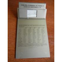 Antiguo Calendario Metálico Años 50s Aceros Monterrey