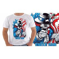 Camiseta Eua - Caveira - Bandeira - Nerds - Estampadas - Usa