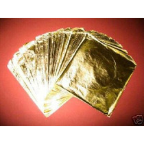 100 Hojas De Oro Arte Artesanias 16 X 16 Instructivo Gratis