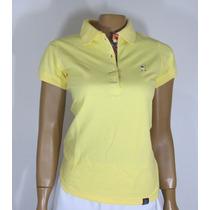 Blusa Baby Look Golfe, Referência 193, Tamanho M, Amarelo.