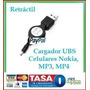 Cable Retráctil Cargador Usb Nokia Mp3 Mp4 Pc Oferta Nuevo