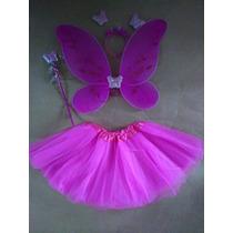 Fantasia Infantil Borboleta Rosa Pink Com Saia Tule