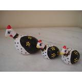 #5881# Trio De Galinhas De Angola Pequenas De Cerâmica!!!
