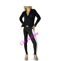 Calça Feminina Bicolor Preto E Branco Outlet Cia Fashion