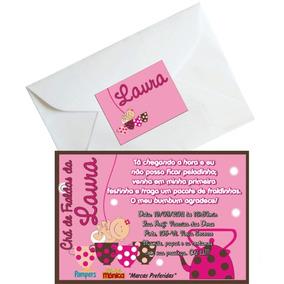 50 Convites Chá De Bebê 7 X 10 Com Envelopes