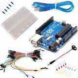 Kit Arduino Uno Proto Cables Led Resistencias Conector Kit14