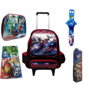 Mochila Escolar Infantil Marvel C.america,hulk,thor,h. Ferro