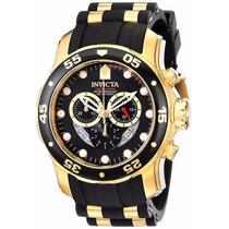 Reloj Invicta Pro Diver 6981 Acero Oro 18k Correa De Caucho