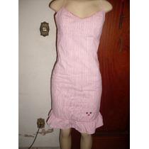 Vestido Rosa Riscadinho /algodão/elastano