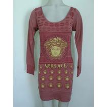 Vestido Versace Con Pedrería Algodón / Lycra Talles M/l