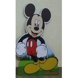 Kit 1 Mickey Chão 80cm E 3 Displays Mesa 22cm Decoração Mdf
