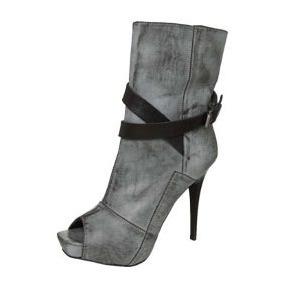 Summer Boots Miucha Cinza - Solado Vermelho - 100% Couro
