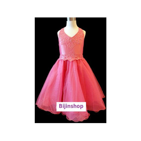 Vestido Infantil Festa Princesa Pink Tafetá Tam 3 Bordado