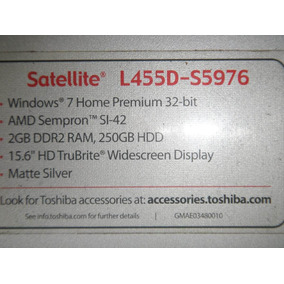 Vendo Peças Notebook Toshiba Satellite L455d-s5976